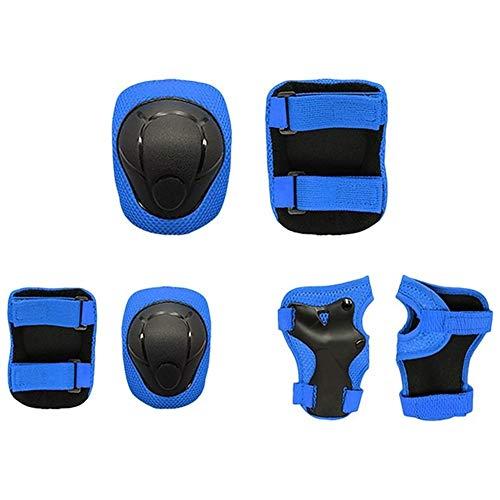 Victor Johnsond Kinder Neue Kinder Knieschützer Set 6 in 1 Protektoren Kit Schutz Ellenbogenschutz mit Handgelenkschutz Kinder Sicherheits-Schutz-Pads inliner (Color : Blue)