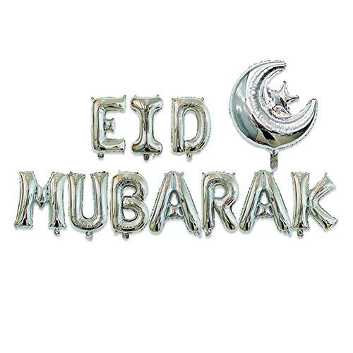 Heoolstranger Juego de Globos para Fiestas con película de Aluminio metálico para Mubarak Holiday Party Muslim Eid al-Fitr Supple