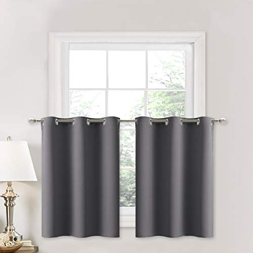 NICETOWN Kitchen Blackout Window Treatment - Thermal Insulated Valance Home Decor Blackout Grommet Tier Curtains Drapes (42W by 24L + 1.2 inches Header, Grey, 1 Pair)