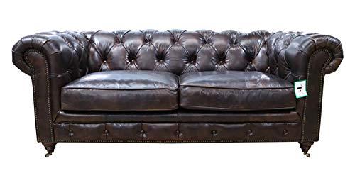 Earle Chesterfield - Sofá de piel original de 2 plazas, color marrón tabaco