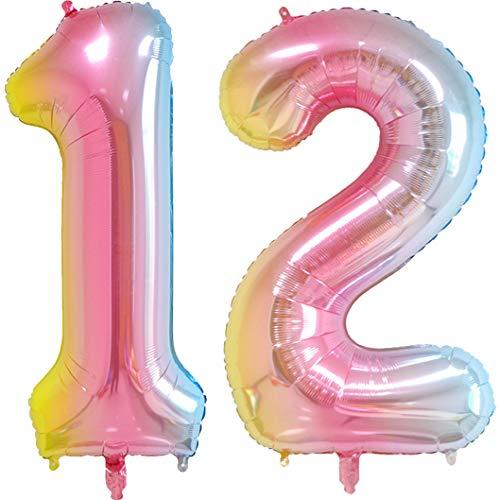 40 inch Number Balloons Foil Helium - 2 PCs Balloons for Birthday Party Decorations Mylar Rainbow Digital Jumbo Balloons for Wedding Anniversary (Rainbow, NO.12)