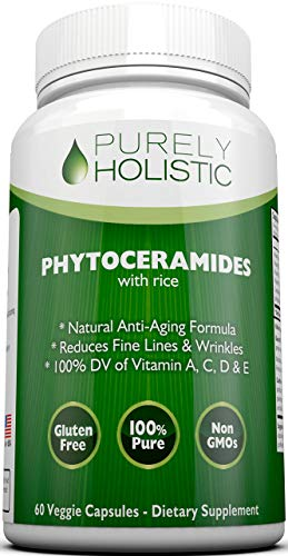Phytoceramides Skin Therapy Supplement 60 Capsules 100% Rice Based 100% Natural Vegetarian/ Vegan Capsules 100% DV of Vitamin A,C,D & E with No Fillers or Artificial Ingredients