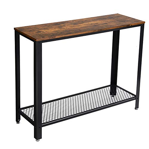 VASAGLE Industrial Console, Sofa Table, for Entryway, Living Room, Easy Assembly ULNT80X, 40.0'L x 13.8'W x 31.5'H, Rustic Brown
