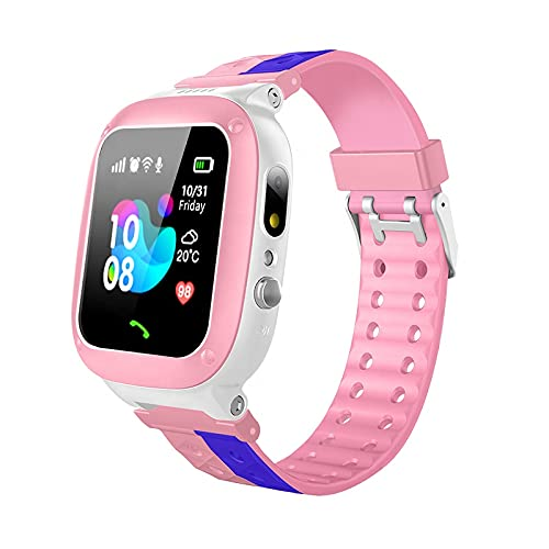 Global Trak Smart Watch with GPS Tracker Live Sharing Location Finder Camera SOS Call Two Way Call Flashlight Remote Monitoring and Anti Lost Device for Safety & Security of Kids Boys & Girls (Pink)