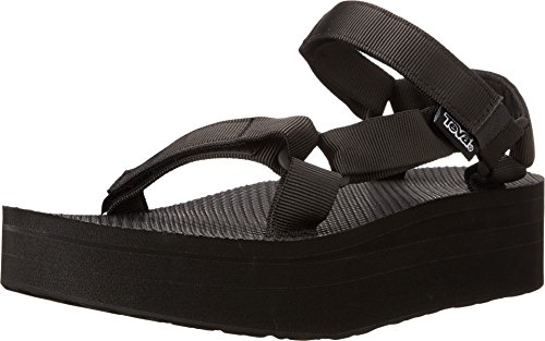 Teva Women's Flatform Universal Platform Sandal, Black, 9 M US