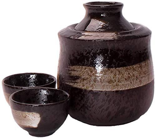 Wall Spotlights~mwsoz Sake-Set Botellas y Juegos de sakeJuego de Sake japonés Copas de cerámica Negras Retro Copas de Vino artesanales, Juego de Copas de Vino para Servicio de Sake Caliente/frío