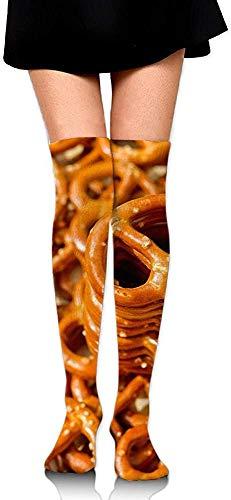 DAWN & ROSE - Calcetines altos hasta la rodilla para hornear pretzels crujientes salados deliciosos aperitivos estampados informales