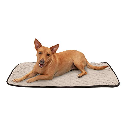 Furhaven Pet Dog Bed Heating Pad - ThermaNAP Quilted Plush Velvet Insulated Thermal Self-Warming Pet Bed Mat for Dogs and Cats, Clay, Medium