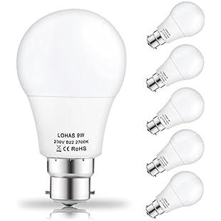 (5 Pack) LOHAS 9Watt A60 B22 LED Bulbs, 60Watt Incandescent Bulbs Equivalent, Warm White 2700K, 810lm, Non Dimmable, Bayonet LED Light Bulbs