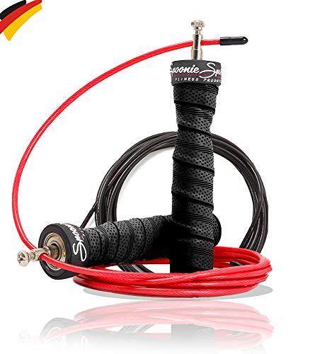 Springseil Jump Rope von SPOONIE Sports Profi Fitness Springseil für Erwachsene mit Stahlseil + Ersatzseil - Springschnur für Kinder längenverstellbar (inkl. Ebook)