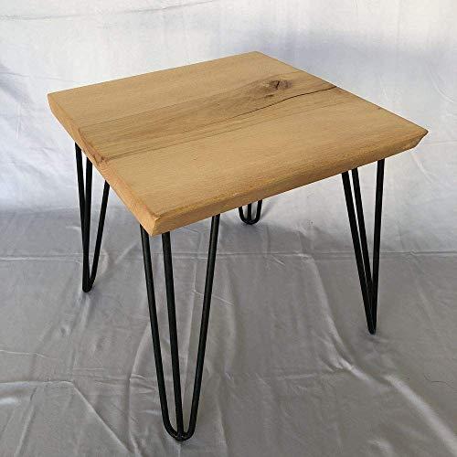 Albtisch.de - Beistelltisch Buche quadratisch - Couchtisch Wohnzimmertisch Sofatisch Nachttisch Holztisch Anstelltisch Massiv Baumscheibe Baumkante Holzscheibe Echtholz Scheibe Metall Stahl Design