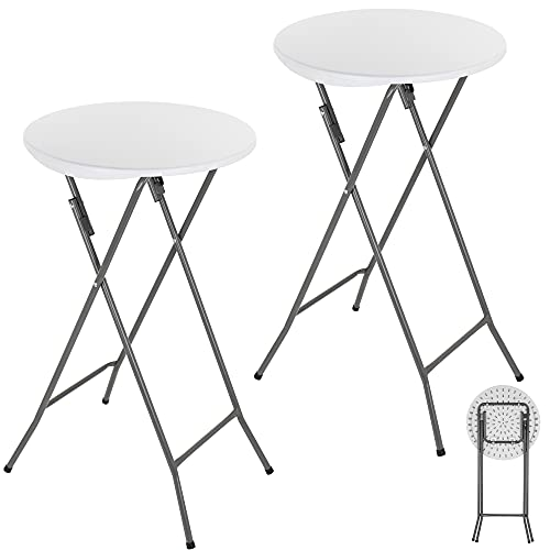 ANJI DEPOT Folding Bar Table,Folding Table Plastic Foldable Indoor & Outdoor for Garden Bistro Bar Party Trade Fairs, Round, White 2 Pack
