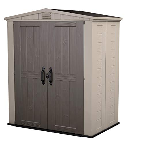 Keter Factor Outdoor Plastic Garden Storage Shed, Beige, 6 x 3 ft