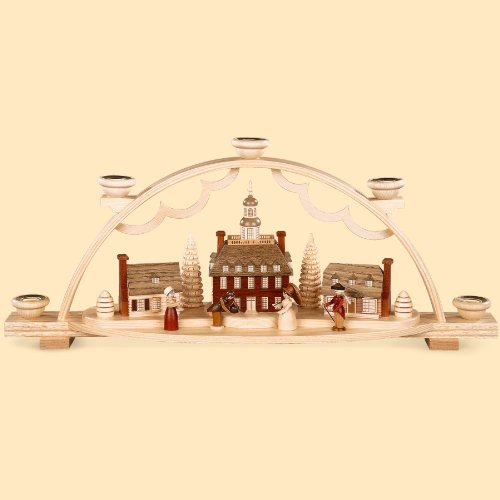 "Müller German Candle Arch ""A Colonial Village"" with Historical Figurines, Length 47 cm / 19 inch, Natural, Original Erzgebirge by Mueller Seiffen"