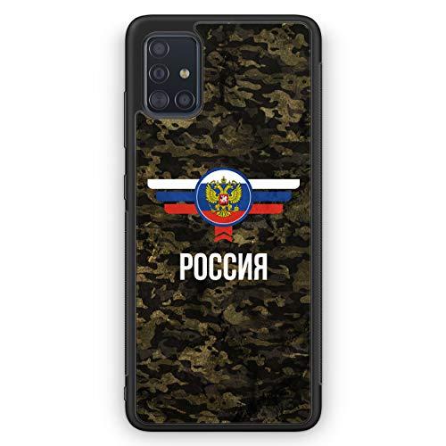 Russland Rossija Camouflage mit Schriftzug - Silikon Hülle für Samsung Galaxy A51 - Motiv Design Militär Military - Cover Handyhülle Schutzhülle Hülle Schale