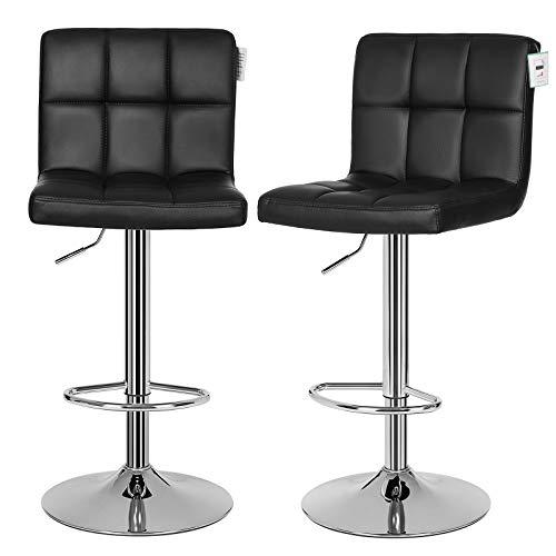 SONGMICS Barhocker 2er Set, höhenverstellbarer Barstuhl aus Kunstleder, 360° drehbar, Küchenhocker mit Rückenlehne und Fußstütze, verchromter Stahl, schwarz LJB64BUK