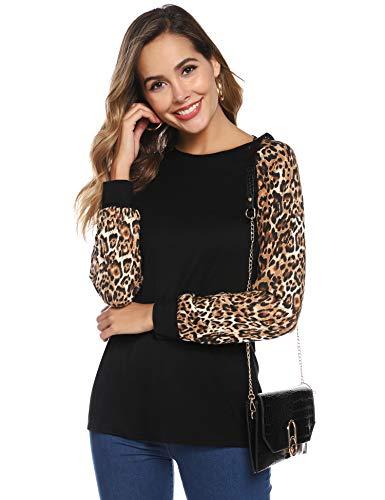 Hawiton Dames shirt met lange mouwen casual vrouwen ronde hals lange mouwen blouse bovenkant kleding t-shirt lange mouwen tuniek blouse