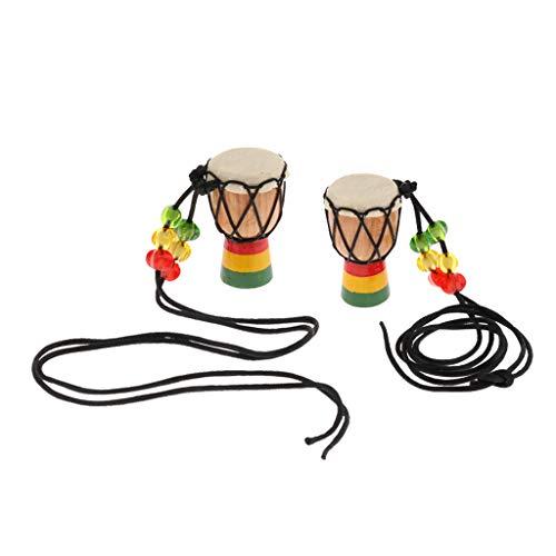 2pcs Holz Mini Classic Schlagzeuger Djembe Percussion Afrikanischen Handtrommel Anhänger - B
