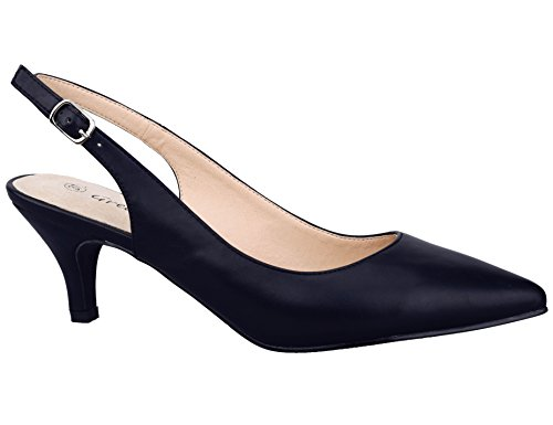 Greatonu Womens Black Adjustable Sling Back Low Heel Dressy Pumps Court Shoes Size 8 US / 39 EU