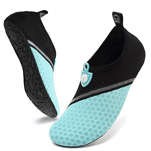 Deevike Damen Wasserschuhe Herren Schwimmen Unisex Barefoot Aqua Socken für Beach Surfen Yoga Schräg Splice Schwarz Cyan 38/39