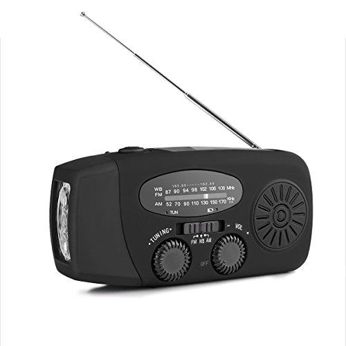 AOZBZ - Radio de emergencia, manivela solar, radio FM/AM/NOAA, con linterna de 3 LED y batería de 1000 mAh para smartphones, Negro