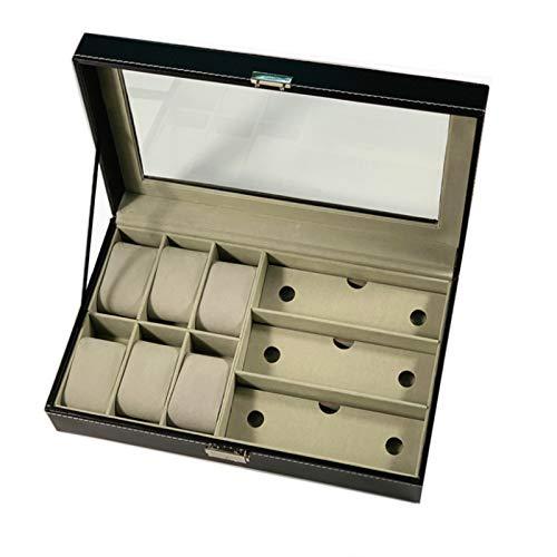 MAATCHH Caja de Reloj Gafas de Sol de Madera PU de Almacenamiento Caja de exhibición de los vidrios Caja de Reloj Creativo de la Manera 6 + 3 Franela Portátil (Color : Black, Size : One Size)