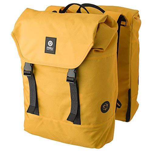 AGU Essentials DWR Urban Klickfix Doppelte Fahrradtasche für Gepäckträger, 36L Seitentasche Fahrrad, Wasserabweisend, Reflektierend, 100% Recyceltes Polyester - Gelb