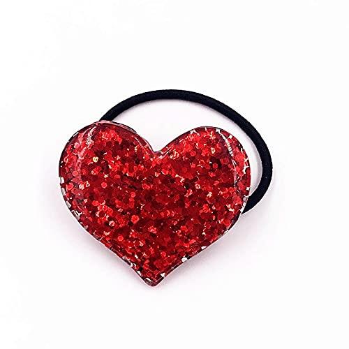 XKMY 1 cinta elástica para el pelo para niñas con diseño de estrellas y corazones, para bebés, niñas, accesorios para el cabello, bandas de goma, para la cabeza, para niños (color: blanco)