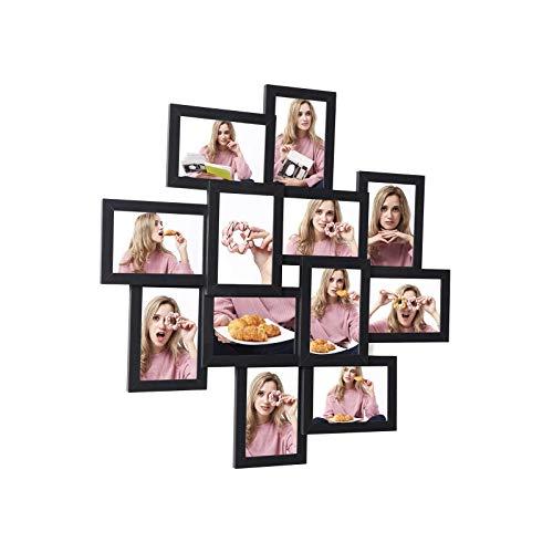SONGMICS Bilderrahmen-Collage, für 12 Fotos in 4 x 6″ (10 x 15 cm), Montage erforderlich, Fotocollage, Fotorahmen, für mehrere Fotos, mit Glasscheibe, schwarz RPF22BK