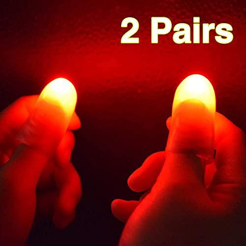 VIHEEVA [Magic props] 2 Pairs Red Magic Finger Light Up Thumb Tips LED Finger Lamp Thumbs Light Party Magic Tricks