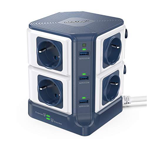BESTEK 8 Fach Steckdosenleiste Mehrfachsteckdose Steckerleiste Steckdosenverteiler mit 6 USB einzeln schaltbar 1500J Überspannungsschutz und Blitzschutz 3600W