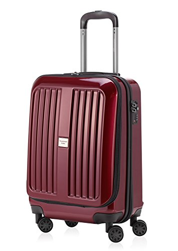 HAUPTSTADTKOFFER - X-Berg - Hand Luggage On-Board Suitcase Cabin Bag Hardside Spinner Trolley 4 Wheel, TSA, 55 cm, 42 liter, Burgundy glossy