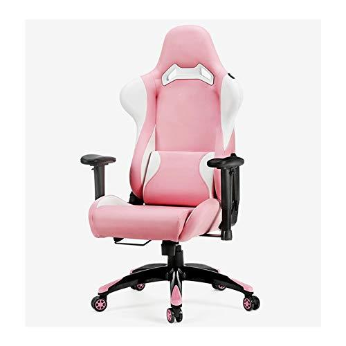 Pinker Gaming-Stuhl, Bürostuhl, verstellbar, PU-Leder, hohe Rückenlehne, drehbare Armlehnen, Nylon-Füße, hochelastisch geformte Baumwolle, geräuschlos