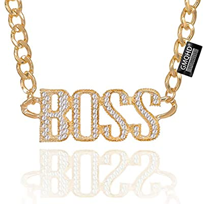 Rhinestone Charm Classic Letters Alphabet Pendant Long Necklace for Women.(Boss-GOLD) (aBOOS-G)