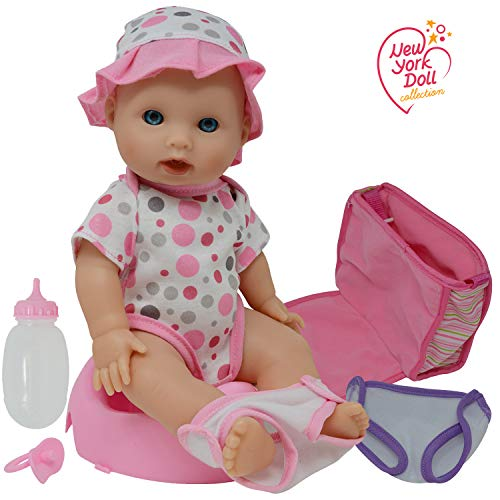 Drink and Wet Potty Training Baby Doll posable Dolls with Pacifier, Bottle, and Diapers - Helps Toilet Training for Kids