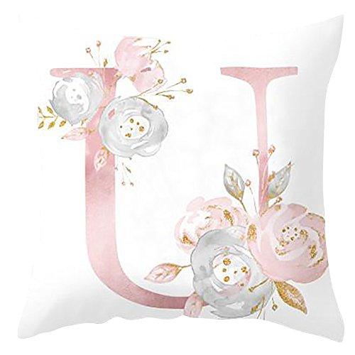 H87yC4ra Cubiertas del Cojín del Alfabeto, Funda De Almohada Decorativa para El Dormitorio del Sofá De La Sala De Estar U