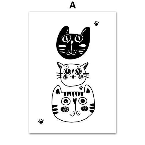 UIOLK Gato Oso Tigre Blanco y Negro Animal Print Kindergarten Arte de la Pared Lienzo Pintura Cartel nórdico e impresión Cuadro de Pared decoración de la habitación de los niños