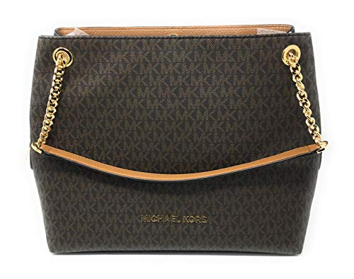 """MK signature PVC coated canvas with gold-tone hardware. Three compartment features front/back snap closure and middle zip closure. Michael Kors logo lettering at front. Double leather-chain shoulder strap with 9"""" drop. Interior: Fabric lining; Center..."""