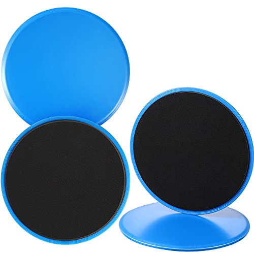 4 Pieces Core Sliders, Dual Sided Gliding Core Exercise Sliding Gliders Gliding Discs for Home Indoor Outdoor Abs Full Body Workout Fitness, Black and Blue