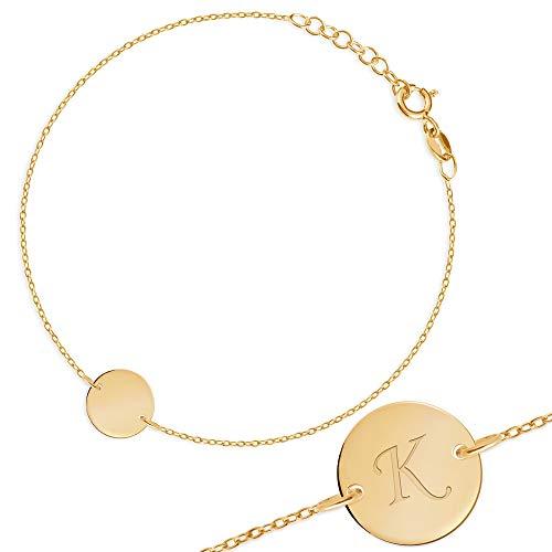 Maverton Initial Damen Armband 333 Gold - mit Buchstaben + personalisierte Geschenkbox mit Gravur - Geschenk für Frauen - Länge: 16 - 18 cm - 8 Karat