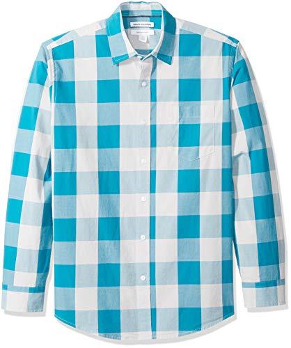 Amazon Essentials Herrenhemd, regulärer Schnitt, langärmlig, Popeline, Teal Buffalo Check, Medium