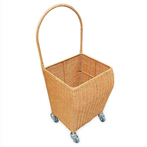 Gwgbxx Old Man Trolley Lebensmittelgeschäft Einkaufswagen Bambus und Rattan Trolley 36 * 32 * 85cm Zwei Farben (Color : A)