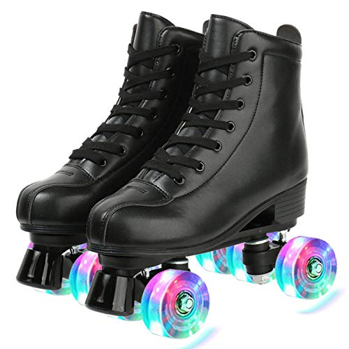 Womens Roller Skates PU Leather, Adjustable Shiny Skates, Light Up 4 Wheels Double Row Roller Skates for Girls (US 9/EUR 43, flash black)