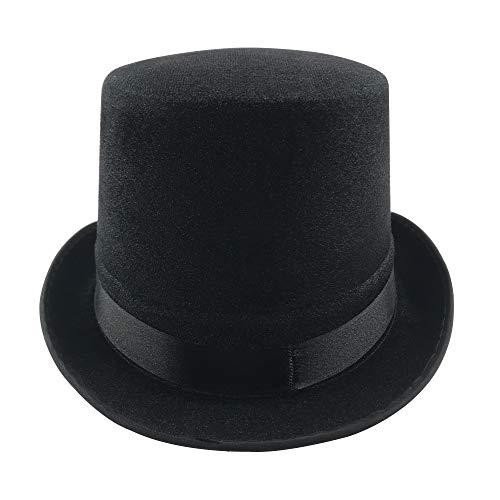 Sombrero Chistera de Copa de Fieltro Satén Gorro de Ronda Mago con Cinta de Raso (Negro, Talla única)