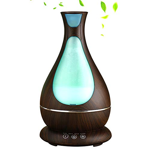 YinQin Aroma Diffusor 400ML Essential Luftbefeuchter Ultraschall Humidifier Essential Oil Aroma Diffuser mit 7-Farben LED-Licht für Spa Home Baby Zimmer Schlafzimmer, Büro (Dunkle Holzmaserung)