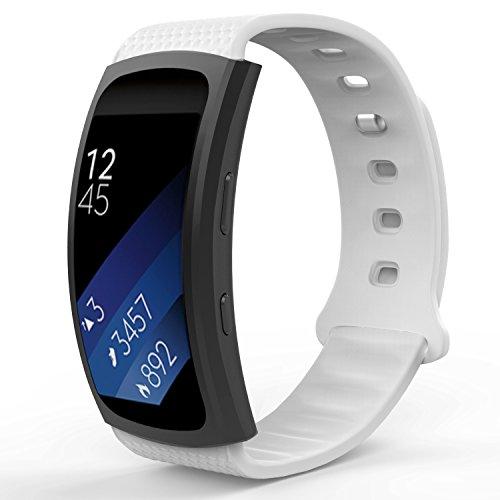 MoKo Armband für Samsung Gear Fit 2 / Fit2 Pro - Silikon Sportarmband Sport Band Uhrenarmband Erstatzband mit Stiftschließe für Gear SM-R360 / SM-R365 Smartwatch, Weiß, Bandlänge 126mm-213mm, Weiß