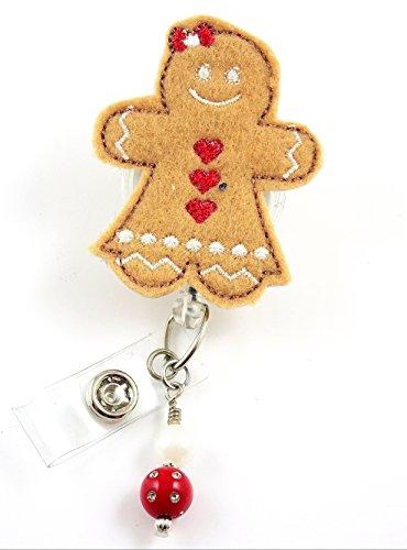Christmas Gingerbread Girl with Bow- Nurse BadgeReel - Retractable ID Badge Holder - Nurse Badge - Badge Clip - Badge Reels - Pediatric - RN - Name Badge Holder