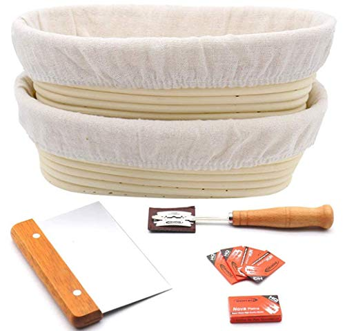 10' Oval Bread Proofing Basket for Sourdough set of 2, Includes Metal Dough Scraper, Scoring Lame and Case, Extra Blades, Rising Dough Baking Bowl Gifts for Artisan Bread Making Starter