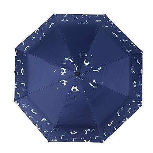 LiXiang666 2020 Nueva Creativa del Paraguas de Sol Fresca pequeña Soleado Lluvia Paraguas Plegable Doble Vinilo sombrilla Sol y la Lluvia (Color : Blue)