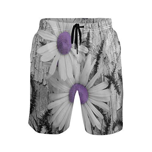 LISNIANY Badehose für Herren,Lila Grau Weiß Gänseblümchen Blumen Schmetterling Schwarz Fuchsschwanz Gras,Badeshorts für Männer Surfen Strandhose Schwimmhose(S)